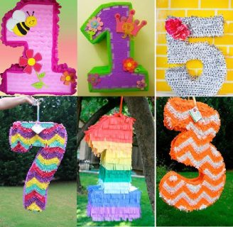 Como hacer piñatas de cumpleaños con forma de números.