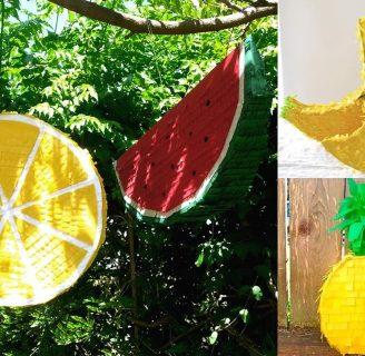 Como hacer piñatas para niños con forma de fruta.